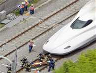 Two people are dead after one of them set himself on fire on board a Japanese Shinkansen bullet train