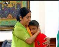 Sushma Swaraj meets Sonu, the boy who was kidnapped and has been rescued from Bangladesh