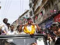 Arvind Kejriwal was showered flowers from the drone