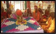 वैदिक मंत्रोच्चारण के बीच मां दुर्गा की प्रतिमा हुई स्थापित