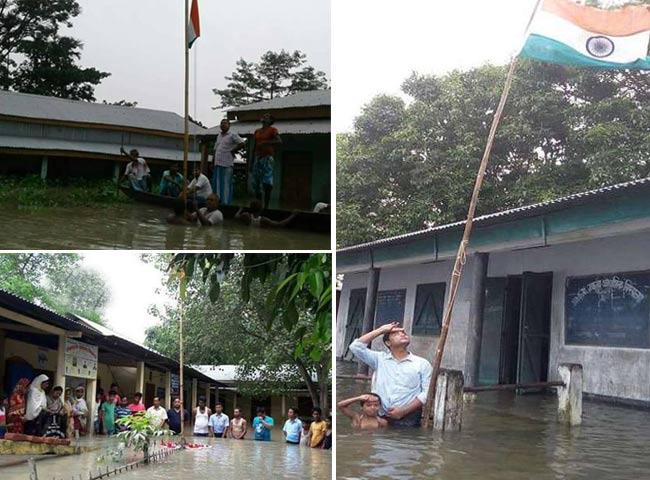 बाढ़ भी नहीं रोक पाई जश्न-ए-आजादी, देखें तस्वीरें