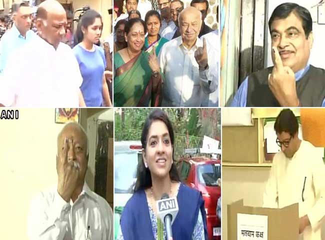 तस्वीरें : महाराष्ट्र में निकायों के लिए जंग, तमाम बड़ी हस्तियों ने किया मतदान