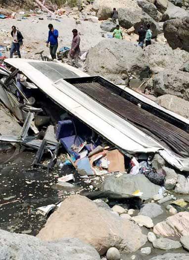 निजी यात्री बस टौंस नदी में गिरी, 44 यात्रियों की मौत