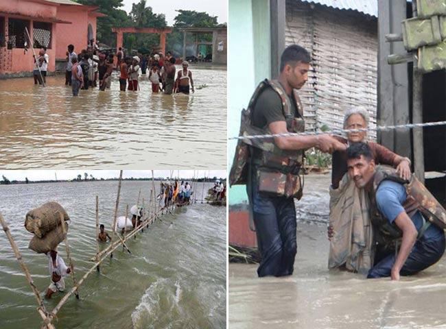 बिहार में बाढ़ की स्थिति हुई विकराल, देखें तस्वीरें