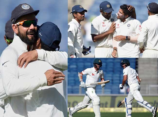 photos: पुणे टेस्ट पर भारत ने कसा शिकंजा, भारतीय गेंदबाज रहे हावी