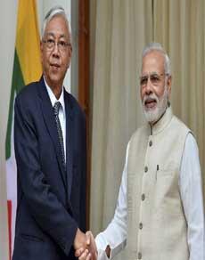 Photos: म्यांमार के राष्ट्रपति हतिन क्याव ने पीएम मोदी से की मुलाकात