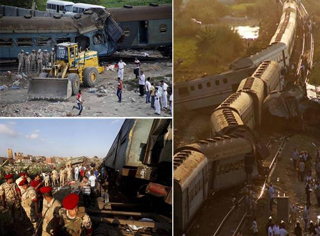 मिस्र में दो ट्रेनों की भिड़ंत, लोग बोगियों में फंसे, देखें तस्वीरें