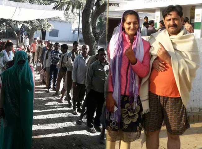 यूपी चुनाव: मतदान केंद्रों के बाहर वोटरों की कतारें, दुल्हन ने भी डाला वोट