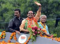 बीरसिंहपुर पहुंची सीएम शिवराज की जनआशीर्वाद यात्रा