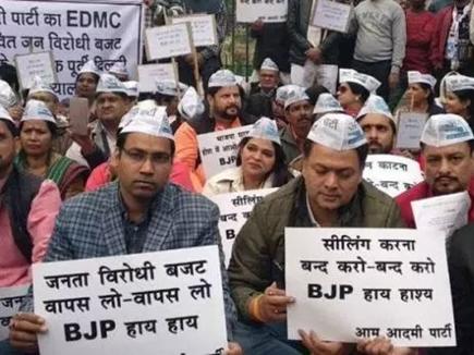 दिल्ली में सीलिंग के खिलाफ व्यापारियों का बंद, प्रदर्शन जारी