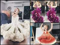 फलों, फूलों और सब्जियों से बनाई बेटी की 'ड्रेसेस', देखिए कमाल की तस्वीरें