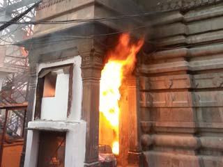 महाकालेश्वर मंदिर के भस्मी कक्ष में लगी आग