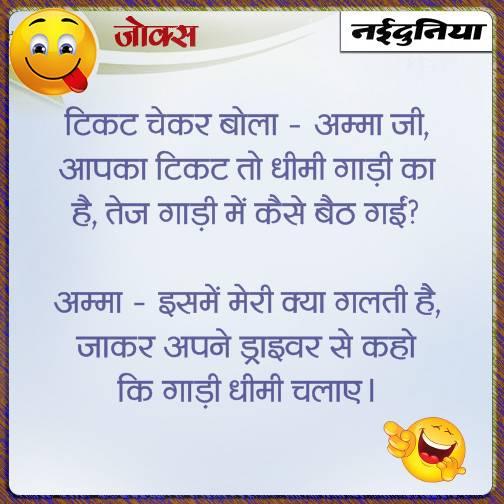 hindi jokes ticket checker and old age woman