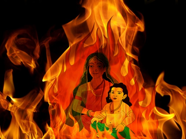 Holika to lure Prahlad to sit on her lap amidst fire.