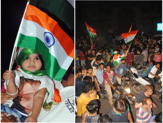 भारत की जीत के बाद इंदौर के राजवाड़ा में ऐसे मना जश्न