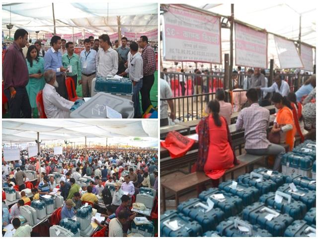 Indore Loksabha Seat : नेहरू स्टेडियम में मतदान सामग्री का वितरण, GPS लगी गाड़ियों से निकले दल