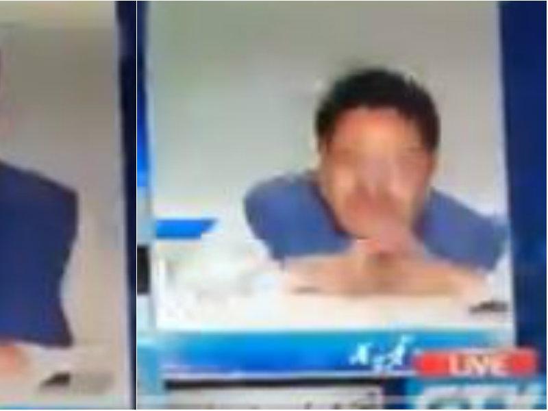 Video: कश्मीर पर लाइव डिबेट के दौरान कुर्सी से गिरा पाक एक्सपर्ट, उड़ी हंसी