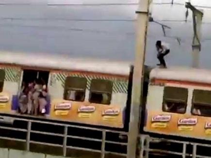चलती ट्रेन की छत पर किए ऐसे स्टंट, वीडियो वायरल