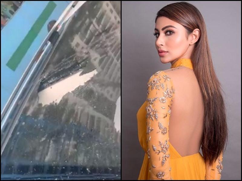 VIDEO: ट्रेलर लॉन्च के लिए जा रही थी Mouni Roy, मेट्रो साइट से गिरे पत्थर ने तोड़ दी कार