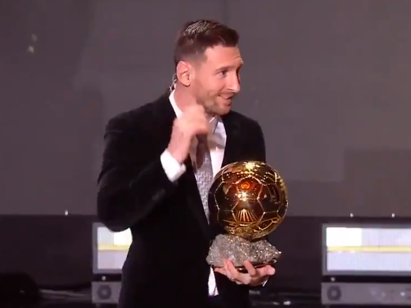 VIDEO: लियोनेल मेसी ने रिकॉर्ड छठी बार जीता Ballon D'Or अवॉर्ड