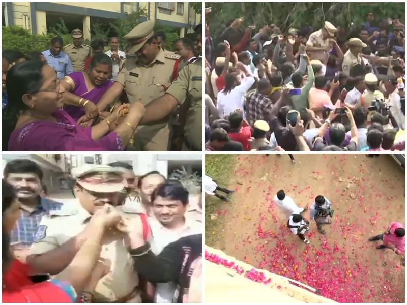 Hyderabad Encounter: पुलिसकर्मियों को कहीं बांधी राखी तो कहीं खिलाई मिठाई, देखें जश्न के VIDEO