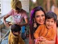 लॉकडाउन में घर पर ही Shweta Tiwari ने काट दिए बेटे के बाल