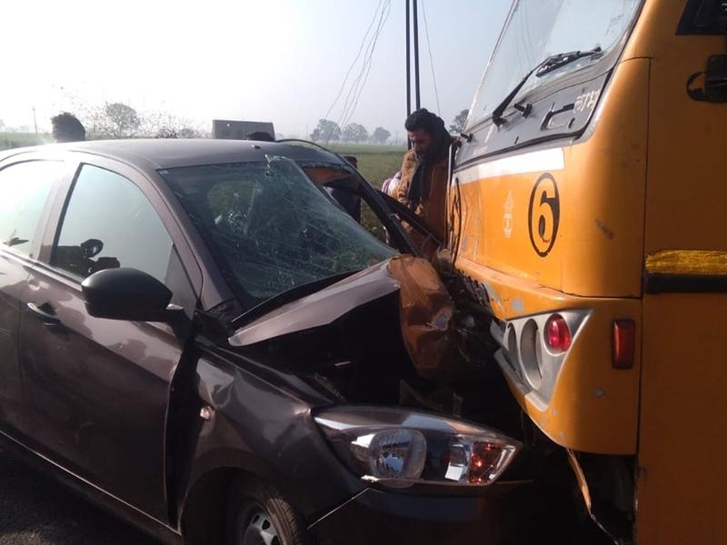 Ujjain News : उज्जैन के पास स्कूल बस और कार की भिड़ंत, चार घायल