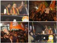 Amit Shah ने दिल्ली में किया रोड शो, कहा केजरीवाल को पुराने वादे याद दिलाने आए हैं
