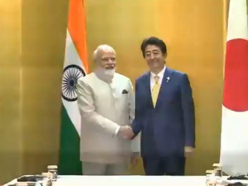 PM मोदी ने की प्रधानमंत्री शिंजो आबे से की मुलाकात, जी 20 शिखर सम्मेलन में भाग लेने पहुंचे हैं जापान