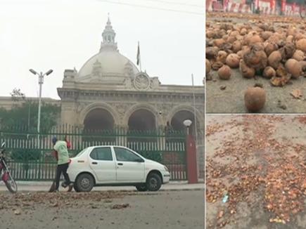 लखनऊ: कम कीमतों से गुस्साए किसानों ने विधानसभा के बाहर लगाया आलू का ढेर