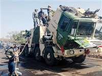 श्योपुर: सेना के रॉकेट लांचर में लगी आग