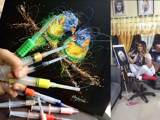 पेशे से हैं नर्स, ब्रश की बजाय सिरिंज से बनाती है ऐसी पेंटिंग्स