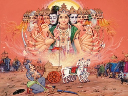 Image result for श्रीकृष्ण का विराट रूप paintings